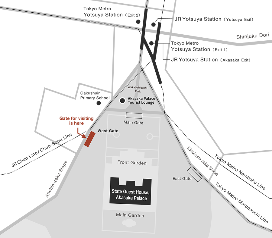 An access map to the State Guest House, Akasaka Palace. Leave from either JR Yotsuya Station or Tokyo Metro Yotsuya Station. Pass through Wakabahigashi Park, located to the south side of either station, and continue to the West Gate, which is located towards Gakushin Primary School.