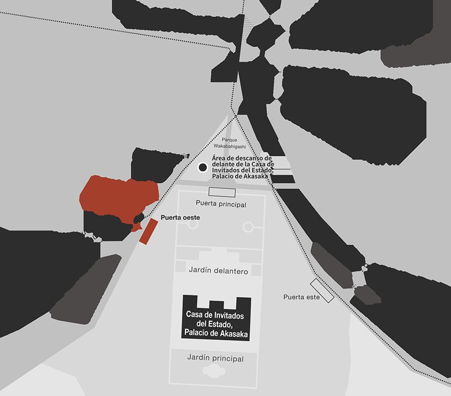 Un mapa de acceso a la Casa de Invitados del Estado, Palacio de Akasaka. Salga de la Estación de Yotsuya de JR o de la estación de Yotsuya del metro de Tokio. Recorra el Parque Wakabahigashi, situado al sur de ambas estaciones, y prosiga hasta la Puerta oeste, que está situada hacia la Escuela Primaria Gakushuin.
