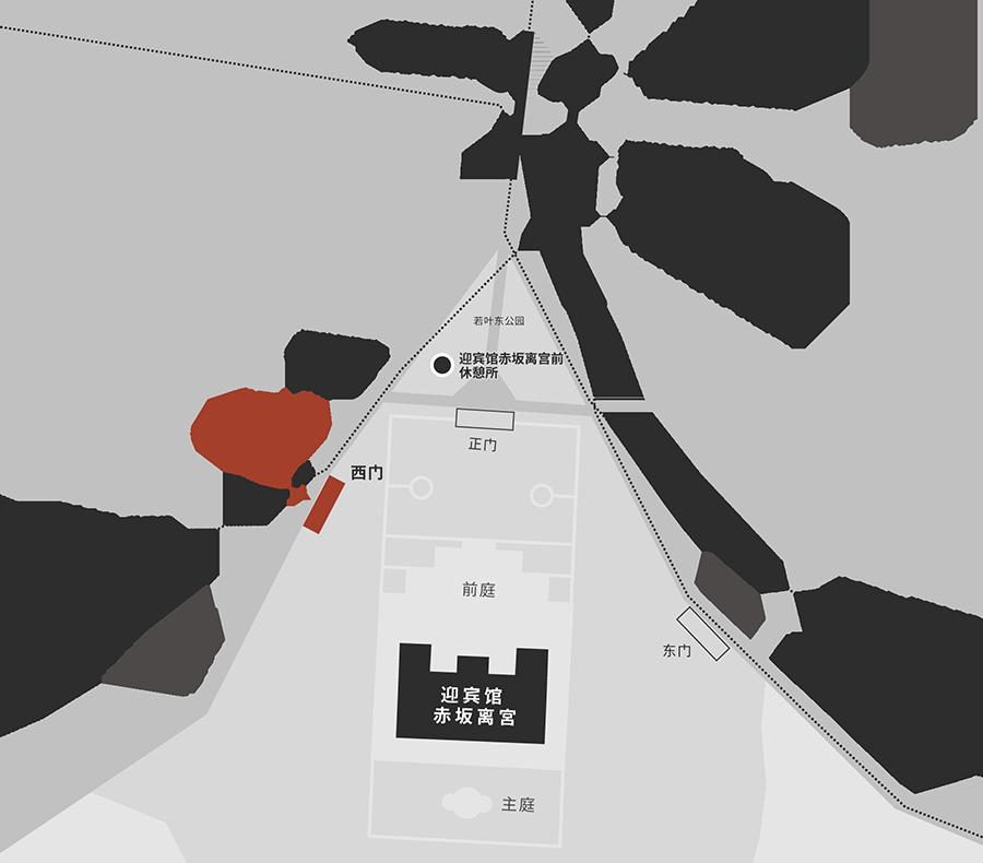 前往迎宾馆赤坂离宫的交通地图。在JR四谷站或东京Metro地铁四谷站下车。请从车站穿过位于南侧的若叶东公园,朝向靠近学习院初等科一侧的西门方向前行。