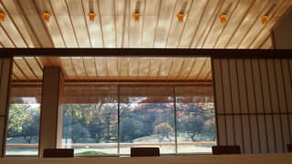 A photo of the reflected light trembling on the ceiling. Looking towards the outdoors from the main Japanese-style room, one can see the sunlight that strikes the pond, projected in trembling patterns onto the ceiling of the veranda.
