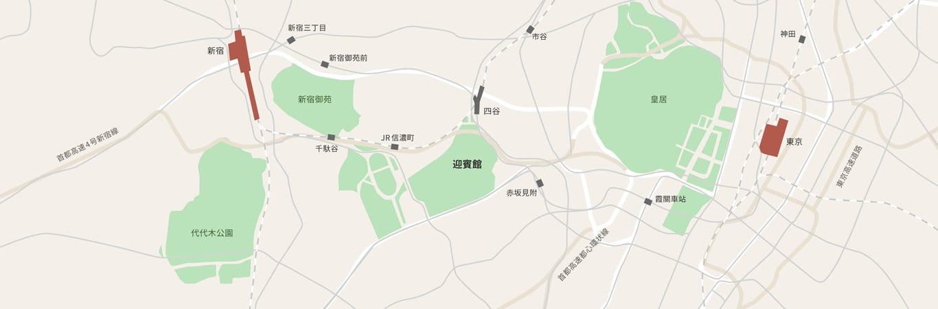 顯示迎賓館赤坂離宮於東京都心位置之地圖。迎賓館東側有皇居,西側則有新宿御苑及代代木公園。