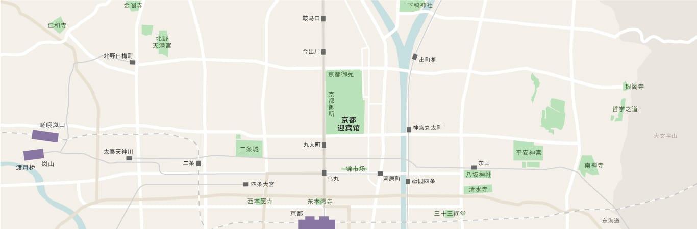 显示京都迎宾馆在京都市内的位置的地图。京都迎宾馆位于京都御苑中,还显示了其与周边观光景点的位置关系。