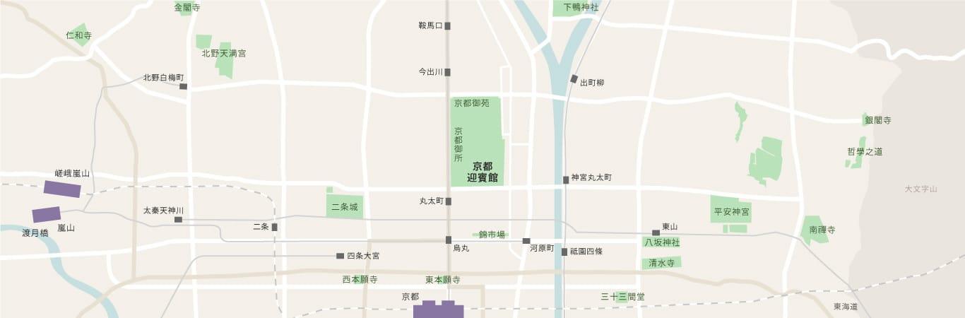 顯示京都迎賓館於京都市內位置之地圖。京都迎賓館位於京都御苑中。圖中亦標示與周邊觀光景點之相對位置。