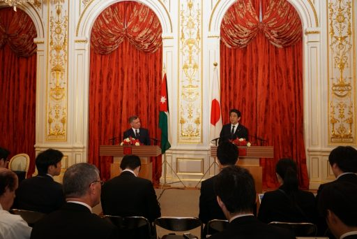 The Press Conference by King Abdullah of the Kingdom of Jordan and the Prime Minister Abe in Sairan no Ma