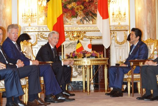 T.M. the King Philippe of the Kingdaom of Belgium and the Prime Minister Abe talking in a relaxed mood in Asahi no Ma