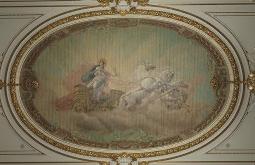 「朝日の間」の名前の由来となった天井絵画