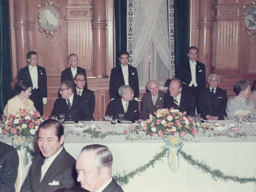 President Ford and Emperor Showa talk in a relaxed mood during the dinner banquet hosted by Mr. Ford in Kacho no Ma