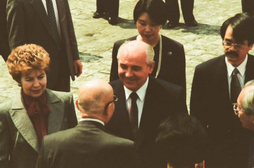 President Gorbachev and Mrs. Gorbachev greet welcoming members at the welcome ceremony in the front garden