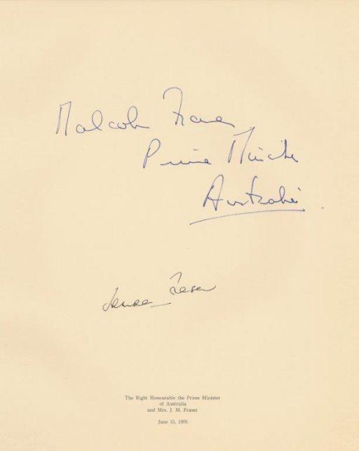 J.M.フレーザー首相閣下及び同令夫人