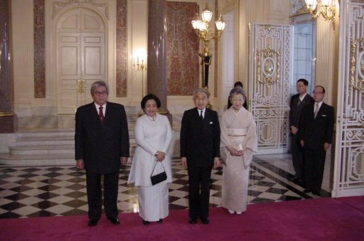 President Megawati and Emperor with their spouses pose in a memorial photo opportunity at the entrance hall