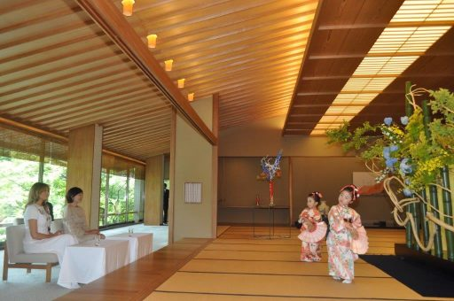 First Lady of the United States of America watches traditional Japanese dancing during the Japanese cultural event with Mrs. Abe in the Main Room of the Japanese-Style Annex.