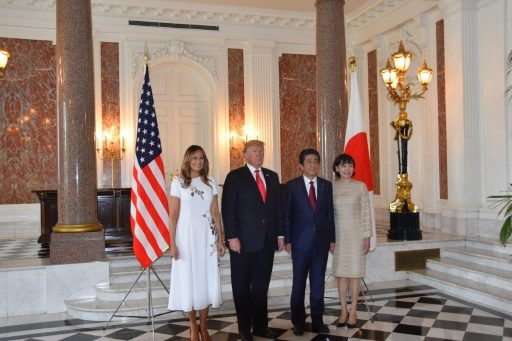 Photograph of Prime Minister and Mrs. Shinzo Abe, President and First Lady of the United States of America.