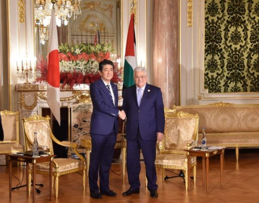 Prime Minister Abe meets with H.E. Dr. Mahmoud ABBAS, President of Palestine.