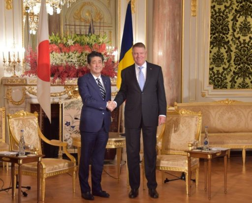 Prime Minister Abe meets with H.E. Mr. Klaus-Werner IOHANNIS, President of Romania.
