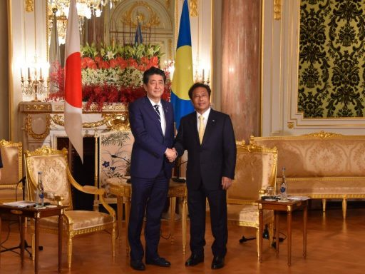 Prime Minister Abe meets with H.E. Mr. Tommy E. REMENGESAU, Jr., President of the Republic of Palau.