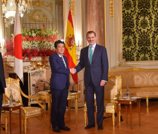 Prime Minister Abe meets with H.M. King FELIPE VI, King of Spain.