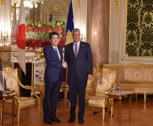 Prime Minister Abe meets with H.E. Mr. Hashim THACI, President of the Republic of Kosovo.
