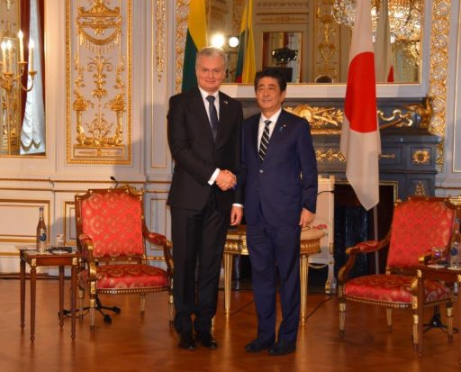 Prime Minister Abe meets with H.E. Dr. Gitanas NAUSĖDA, President of the Republic of Lithuania.