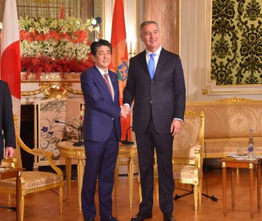 Prime Minister Abe meets with H.E. Mr. Milo DJUKANOVIC, President of Montenegro.