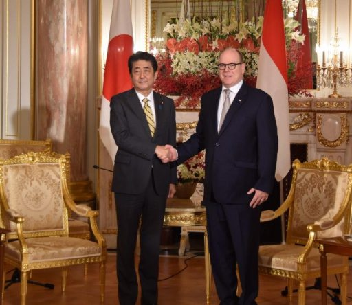 Prime Minister Abe meets with H.S.H. Prince ALBERT II of Monaco.