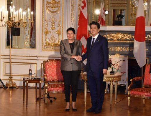 Prime Minister Abe meets with H.E. Ms. Salome ZOURABICHVILI, President of Georgia.