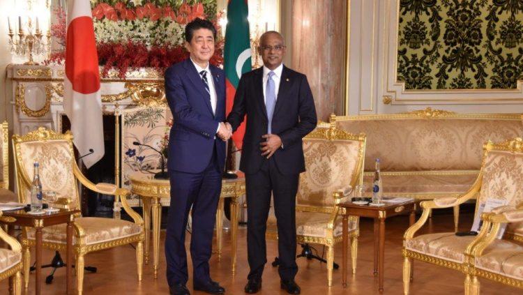 モルディブ共和国イブラヒム・モハメド・ソーリフ大統領との会談前の様子。