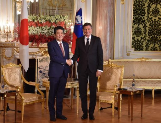Prime Minister Abe meets with H.E. Mr. Borut PAHOR, President of the Republic of Slovenia.