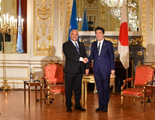 Prime Minister Abe meets with H.E. David W. PANUELO, President of the Federated States of Micronesia.