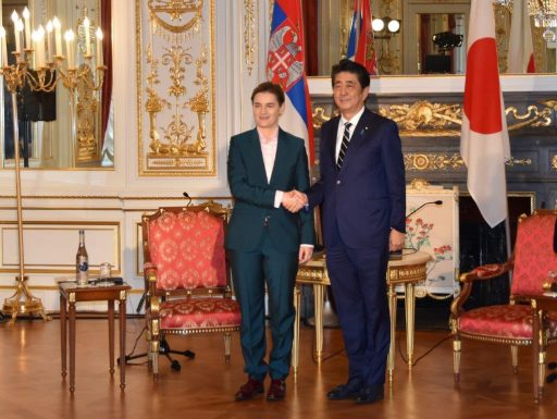Prime Minister Abe meets with H.E. Ms. Ana Brnabić, Prime Minister of the Republic of Serbia.