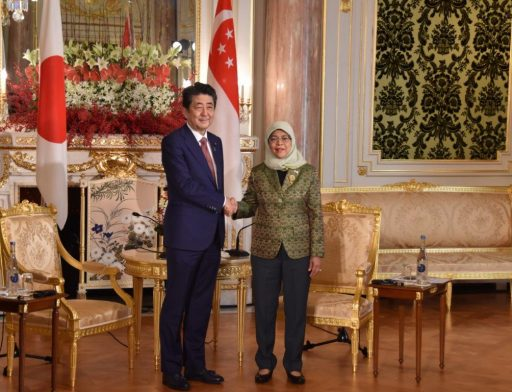Prime Minister Abe meets with H.E. Mdm HALIMAH YACOB, President of Republic of Singapore.