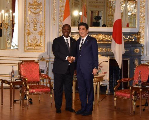 Prime Minister Abe meets with H.E. Mr. Alassane OUATTARA, President of Republic of Côte d'Ivoire.