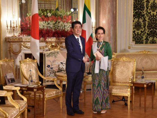 Prime Minister Abe meets with H.E. Ms. AUNG SAN SUU KYI, State Counsellor of the Republic of the Union of Myanmar.