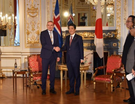 Prime Minister Abe meets with H.E. Mr. Gudni Thorlacius JOHANNESSON, President of the Republic of Iceland.