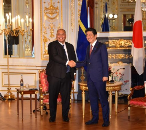 Prime Minister Abe meets with H.E. Mr. Lionel Rouwen AINGIMEA, President and Minister for Foreign Affairs and Trade of the Republic of Nauru.