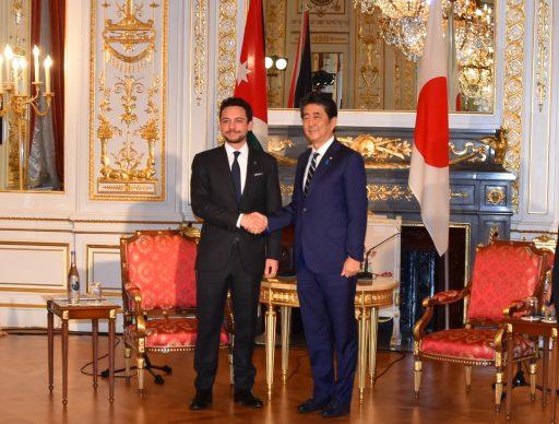 Prime Minister Abe meets with HRH Crown Prince HUSSEIN bin Abdullah bin Hussein bin Talal, Crown Prince of the Hashemite Kingdom of Jordan.