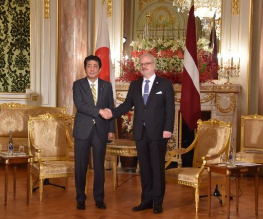 Prime Minister Abe meets with H.E. Mr. Egils LEVITS, President of the Republic of Latvia.
