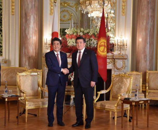 Prime Minister Abe meets with H.E. Mr. Sooronbai Sharipovich ZHEENBEKOV, President of the Kyrgyz Republic.