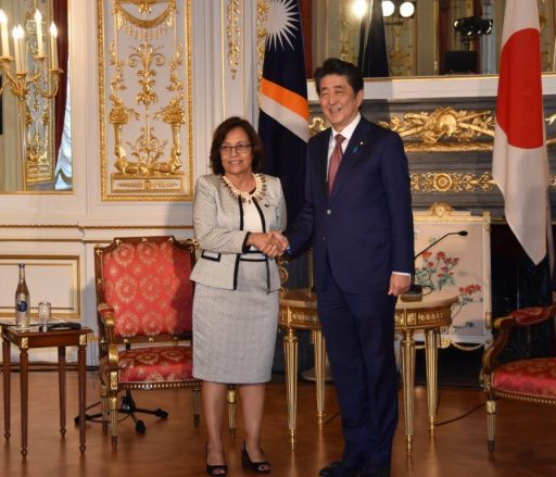 Prime Minister Abe meets with H.E. Dr. Hilda C. HEINE, President of the Republic of the Marshall Islands.