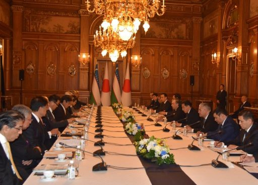 President Shavkat Mirziyoyev meets with business leaders of Japan in Kacho no Ma.