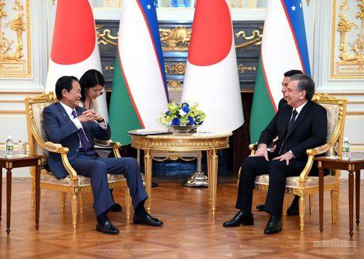 President Shavkat Mirziyoyev meets with Deputy Prime Minister ASO Taro in Sairan no Ma.